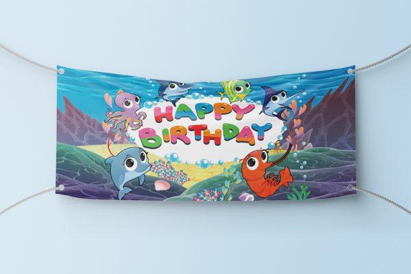 Fishes Birthday Banner